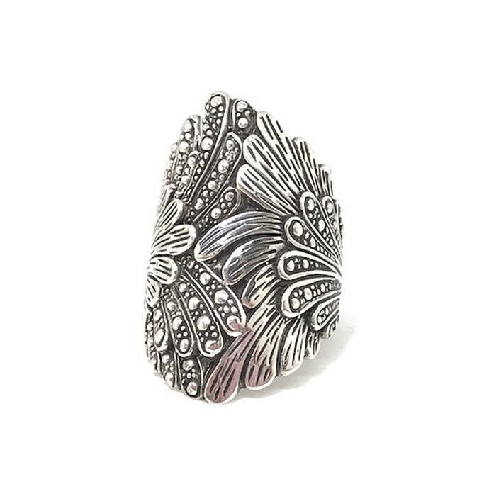 silver leaf ring genuine sterling silver gypsy style