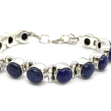Load image into Gallery viewer, lapis lazuli sterling silver gemstone bracelet