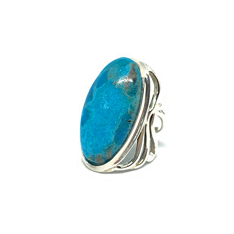 big statement turquoise silver gemstone ring
