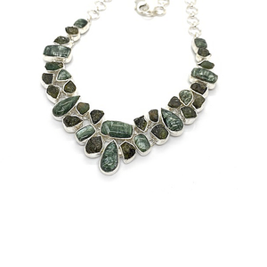 seraphinite tourmaline gemstone sterling silver necklace