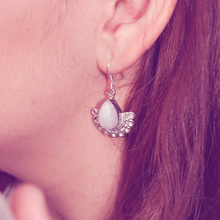 Load image into Gallery viewer, boho style silver moonstone gemstone earrings