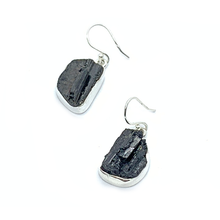 Load image into Gallery viewer, black tourmaline sterling silver earrings