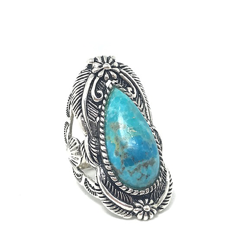 big chunky turquoise teardrop silver ring