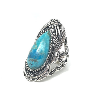 statement silver turquoise chunky ring