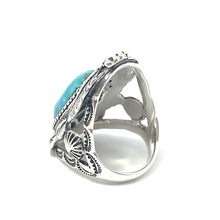 Load image into Gallery viewer, large boho style statement ring with turquoise gemstone