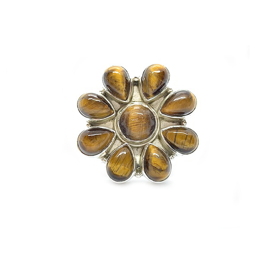 tiger eye statement sterling silver ring