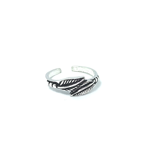 silver feather toe ring bohemian style