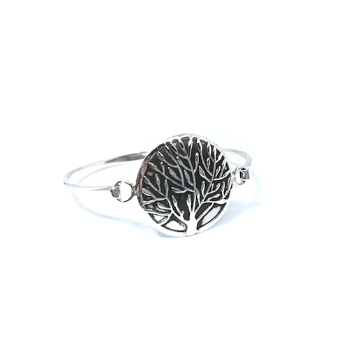 Tree Of Life Round Bangle Bracelet Sterling Silver - Stoned Hilda Discover the soul of Gemstones