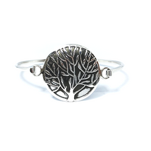 Load image into Gallery viewer, Tree Of Life Round Bangle Bracelet Sterling Silver - Stoned Hilda Discover the soul of Gemstones