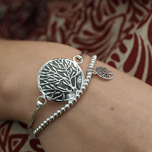 Load image into Gallery viewer, Tree Of Life Round Bangle Bracelet Sterling Silver - Quirky Pieces
