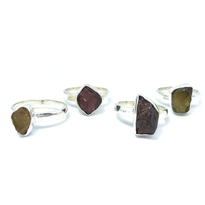 Tourmaline Rough Cut Gemstone Ring Sterling Silver - Stoned Hilda Discover the soul of Gemstones