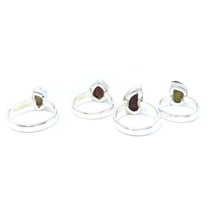 Tourmaline Rough Cut Gemstone Ring Sterling Silver - Quirky Pieces