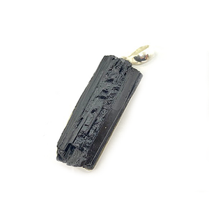 black tourmaline rough sterling silver pendant