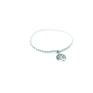 Tree Of Life Silver Ball Bangle Bracelet Sterling Silver - Quirky Pieces
