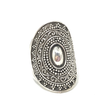 Load image into Gallery viewer, big chunky silver tribal boho ring