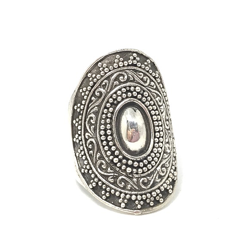 big chunky silver tribal boho ring