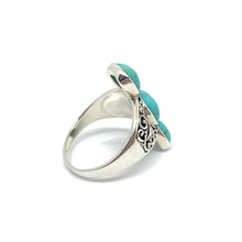 Load image into Gallery viewer, turquoise rustic eastern silver gemstone ring