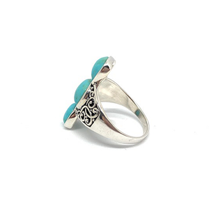 turquoise three stone boho ring