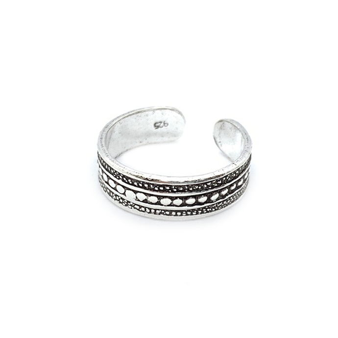 tribal style sterling silver boho toe ring