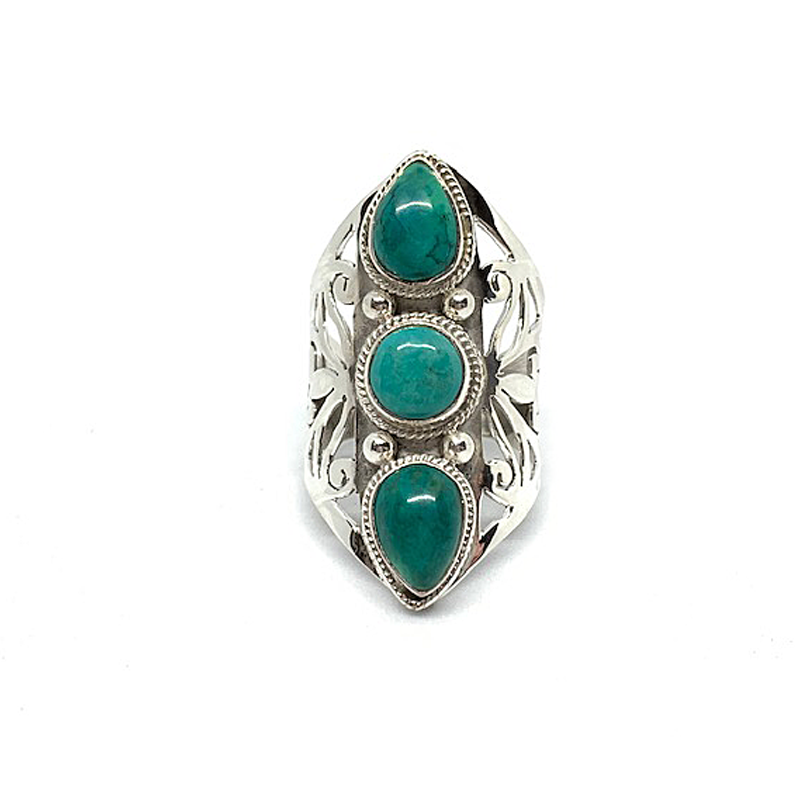 big statement three turquoise stone silver handmade boho ring