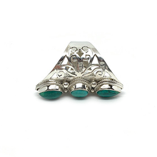 Load image into Gallery viewer, big statement three turquoise stone silver handmade boho ring