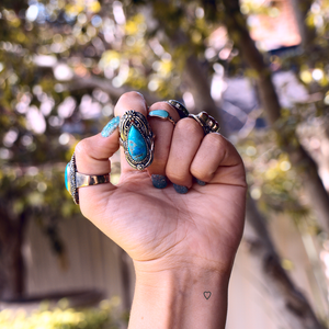 chunky silver turquoise ring