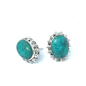 Turquoise Earrings Oval Set In Sterling Silver - Stoned Hilda Discover the soul of Gemstones