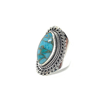 Load image into Gallery viewer, big statement sterling silver diamond shape turquoise gemstone ring
