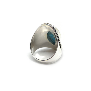 big statement sterling silver diamond shape turquoise gemstone ring