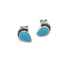 Load image into Gallery viewer, turquoise teardrop boho silver earring studs