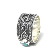 Load image into Gallery viewer, turquoise gypsy style silver ring