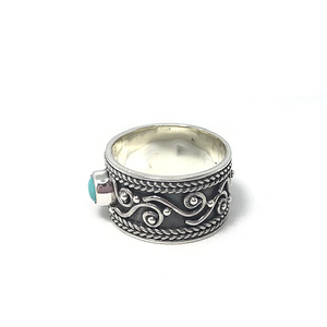 thick gypsy turquoise silver ring