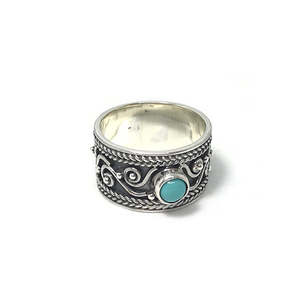 wide turquoise boho silver ring