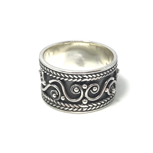 wide band silver turquoise boho ring
