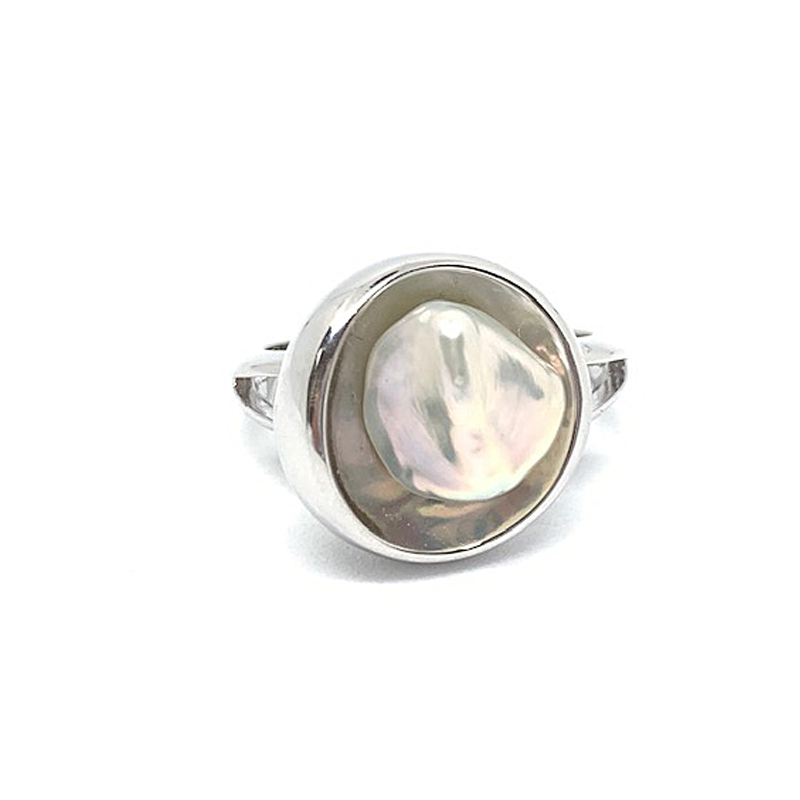 freshwater pearl in sterling silver pod ring