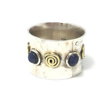 Load image into Gallery viewer, gypsy style hammered silver lapis lazuli ring