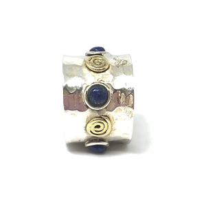lapis lazuli and copper hammered silver ring