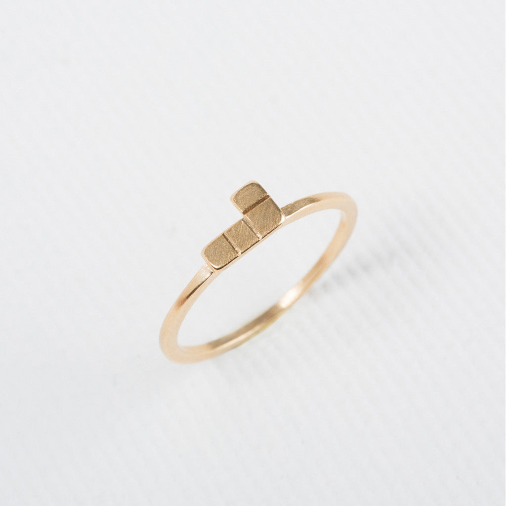 Tetris- L shaped Dainty Ring