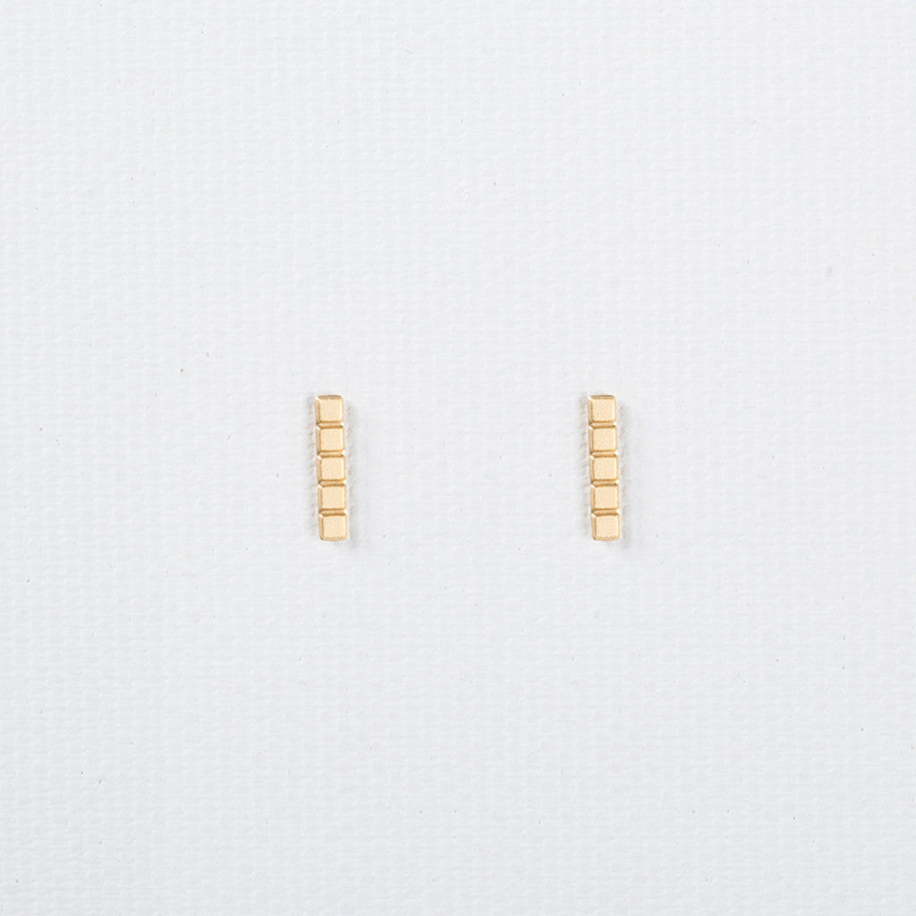 Tetris - Line Shaped Dainty Gold Earrings