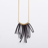 Indiana- Long Black Fringe Statement Necklace