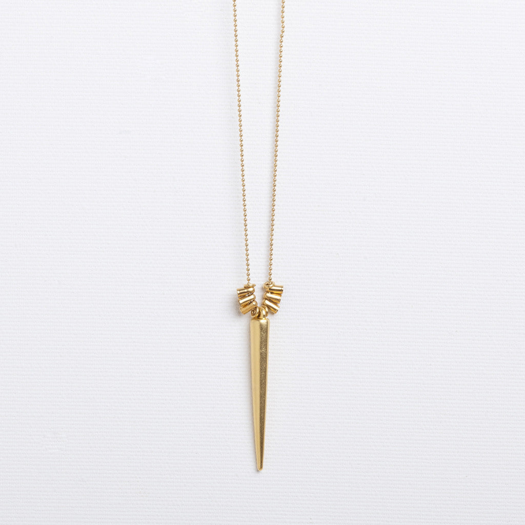 Kachina- Long Gold Spike Necklace