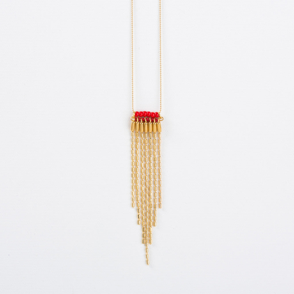 Stripes- Red and Gold Stripes Statement Necklace