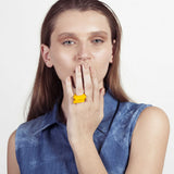 Mini Perssie- Yellow Stacking Statement Perspex Ring