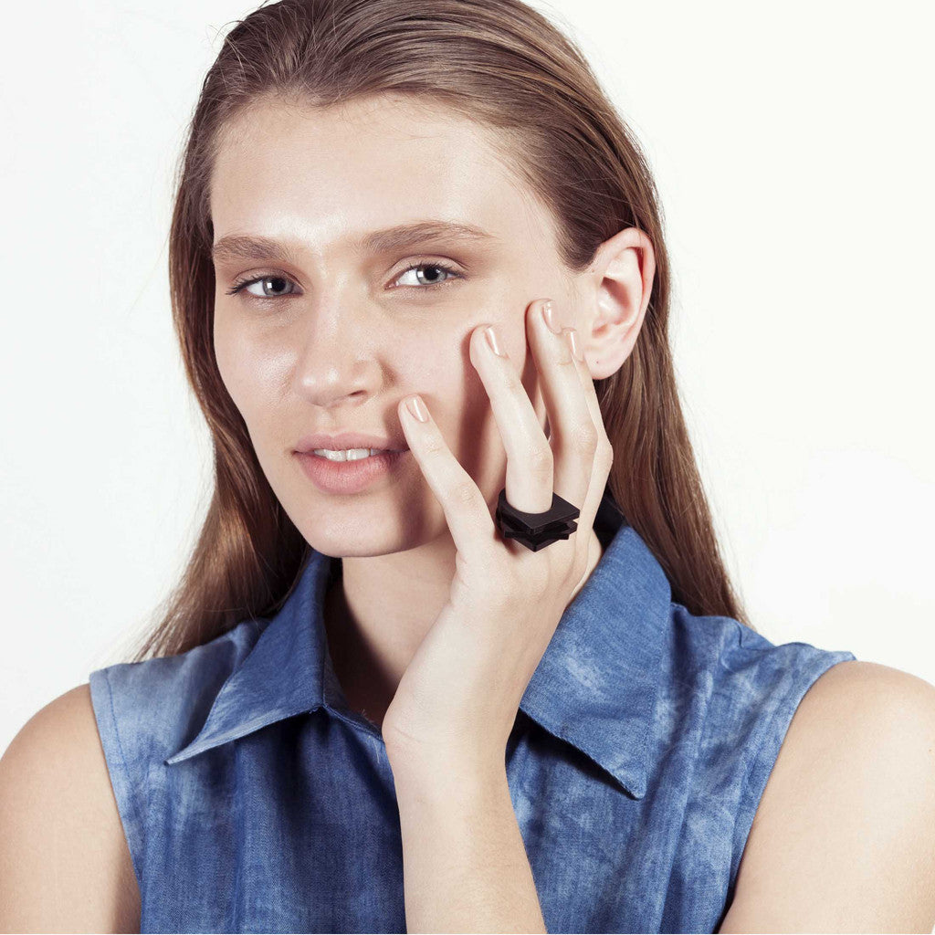 Mini Perssie- Black Stacking Statement Perspex Ring
