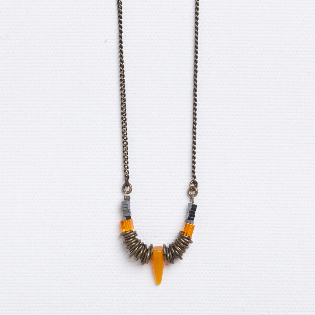 Beak- Long Orange and Brass Spiked Necklace