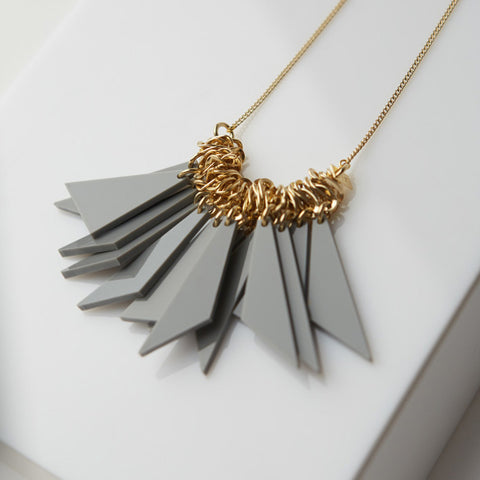 Segi- Gray Triangles Statement Necklace