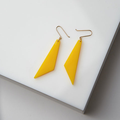 TIGA - Yellow Triangle Statement Earrings