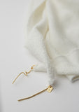 Lenny- White Cotton Scarf with Gold elements
