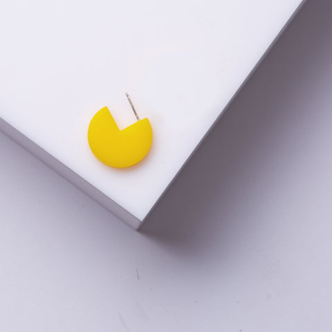 Pepi- Small Yellow Perspex Round Earring