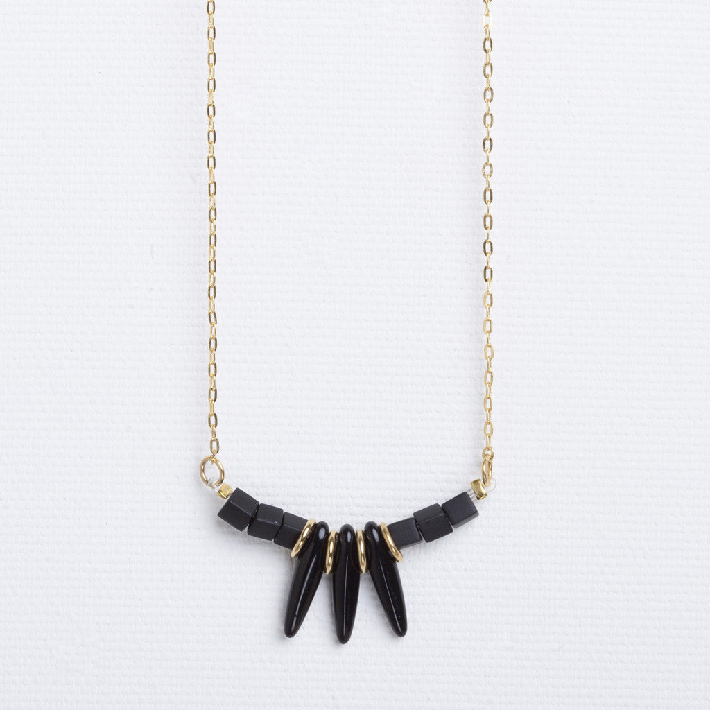 Lily- Short Black Spiked Necklace